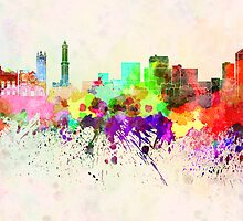 Genoa skyline in watercolor background by paulrommer