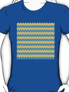 simple yellow and blue knit pattern T-Shirt