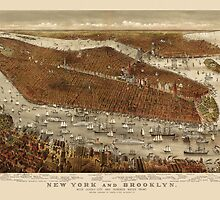 Antique Map of New York City by Currier and Ives from c1877 by bluemonocle