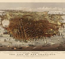 Antique Map of San Francisco, California by Currier and Ives from c1878 by bluemonocle