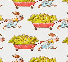 Red Wagon Rabbit Greeting Card~ Landscape Format by Hannah Joe