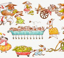 Bustling Bunnies Print by Hannah Joe