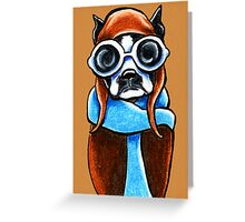 Boston Terrier Aviator Greeting Card