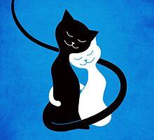 Blue White And Black Cats In Love by Boriana Giormova