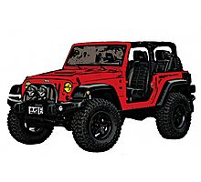 Two door red Jeep wrangler Photographic Print