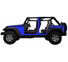 Bright blue four door Jeep wrangler Photographic Print