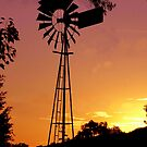 Sunset and a windmill by julie anne  grattan