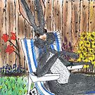 HARE IN DECK CHAIR by Hares & Critters