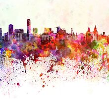 Liverpool skyline in watercolor background by Pablo Romero