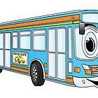 Blue City Bus Cartoon by Graphxpro