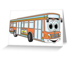 Orange City Bus Cartoon Greeting Card