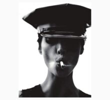 Smoking Police Woman - B&W Art by Garrick  Dartnell