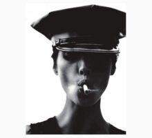 Smoking Police Woman - B&W Art by printandroll