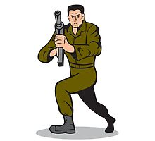 Soldier Aiming Sub-Machine Gun Cartoon by patrimonio