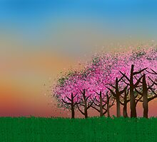 Cherry Orchard Card by EmmaPopkin