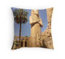 Pharaoh Statue, Karnak Temple, Luxor Throw Pillow