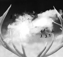 Surreal Dream Stag Antlers In Clouds by kimwatson