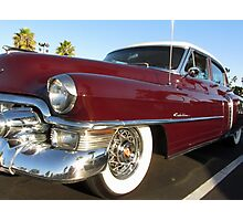 Red Cadillac at palms Photographic Print
