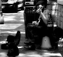 A man, his banjo & his best friend.  by ShellyKay