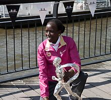 The Elite winner of the London Marathon 2014 Edna Kiplagat  from Kenya by Keith Larby