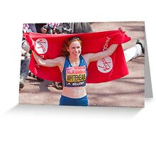 Amy Whitehead after crossing the finish line of the London Marathon Greeting Card