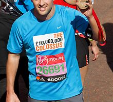 Michael Owen with his London Marathon medal by Keith Larby