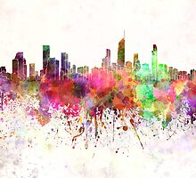 Gold Coast skyline in watercolor background by paulrommer