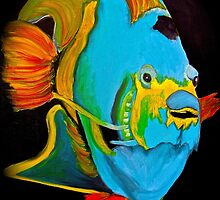 Blue Angel Fish Abstract by Saundra Myles