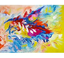 Cat Panther Painting Abstract Art Bright Colors by Ekaterina Chernova Photographic Print