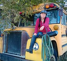 Ginny on Old School Bus by MIKE DEVANEY