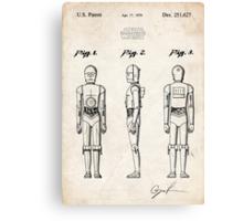 Star Wars C3PO Robot US Patent Art Canvas Print