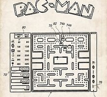 Pac-Man Video Game US Patent Art by geekuniverse
