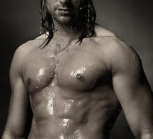 Portrait of man with wet bare torso standing under shower Black an white art photo print by ArtNudePhotos