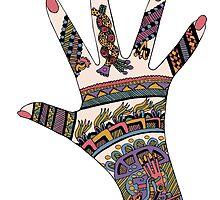 Colourful Mayan Mehndi hand by redqueenself