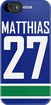 Vancouver Canucks Shawn Matthias Jersey Back Phone Case by Russ Jericho