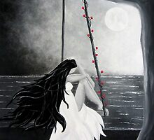Black and white painting Woman Girl whimsical mysterious art by treelovergirl