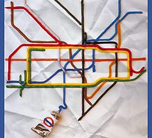 London Underground Tube Subway Paint Map by Rob Hansen