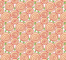 Coral Rose Pattern Orange Flowers Spring Floral by PatternPrint