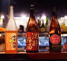 Japanese sake bottles in a bar art photo print by ArtNudePhotos