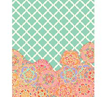 Floral Doodle on Mint Moroccan Lattice Photographic Print