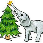 2013 Holiday ATC 11 - Christmas Tree and Elephant by ArtbyMinda