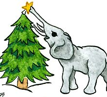 2013 Holiday ATC 11 - Christmas Tree and Elephant by ArtbyMinda