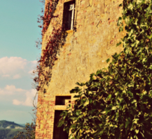 Rustic and Whimsicle Architecture in the Tuscan Countryside of Italy Sticker