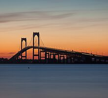 Newport Bridge Sunset, Rhode Island by mcdonojj