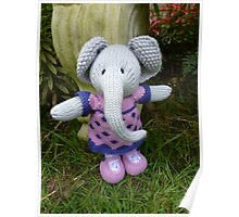 Hand knitted Girl Elephant Poster