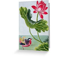 Chinese Red Water Lily Greeting Card