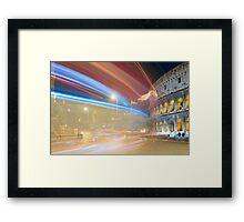 Light trails and colosseum Framed Print