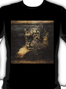 Tiger Face on Wooden T-Shirt