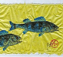 Gyotaku - Yellow Perch - Bluefish by IslandFishPrint