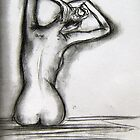 Nude stretching - charcoal sketch  by artistpixi
